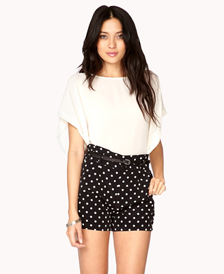 Essential High-Waisted Polka Dot Shorts CAD $23.80