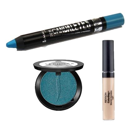 Cache-cerne ColorStay de Revlon, Crayon ombre à paupière bleu de Rimmel et Ombre à paupière Aquamarine de Sephora