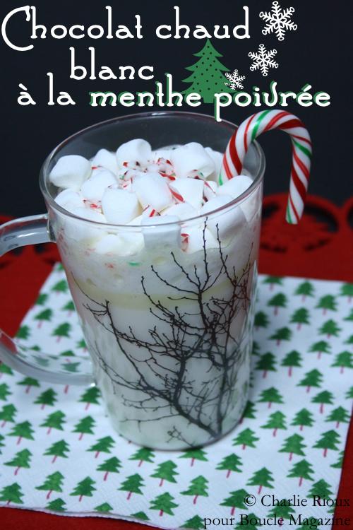 Chocolat chaud blanc a la menthe poivree