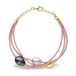 pearl leather & gold pink bracelet