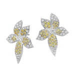Yellow diamonds flower earrings - white gold